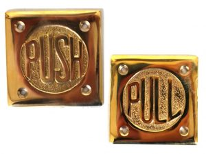 Solid Brass Small PUSH and PULL plates lettering for Commercial or Home Doors