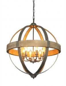 Round Ball Shaped Metal and Wood Chandelier w Pendant Light in Middle 6 bulbs