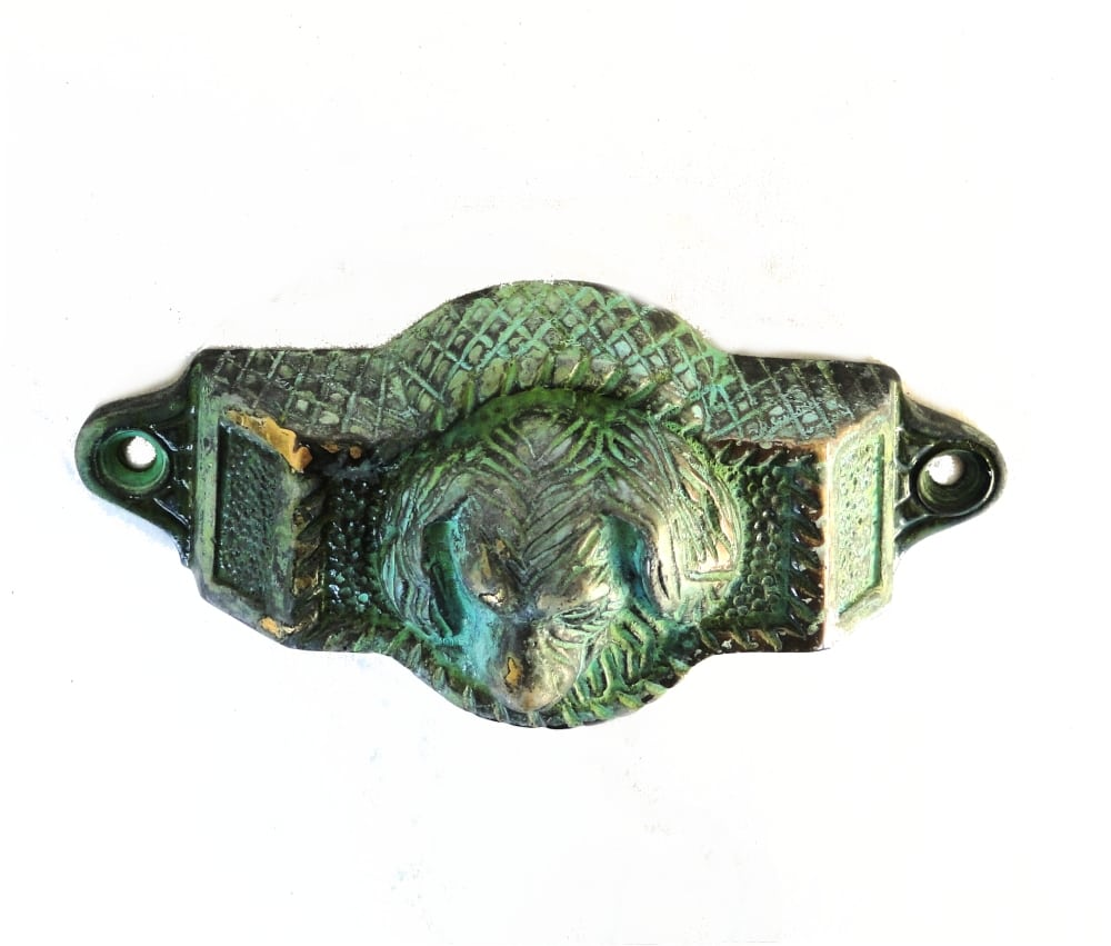 Solid Brass Tiffany Green Dog Bin Pull Antique Vintage Cabinet ...