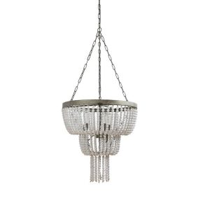 Two Tier with Teardrop Wood Beaded Chandelier in White Paint French Country 25″