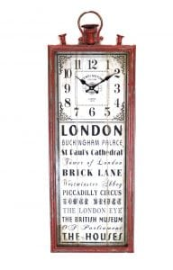 Old London England Tall Big Rectangular Clock Yellow Brick Piccadilly Circus More Writing