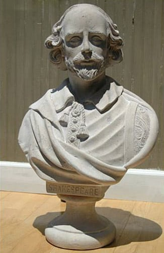 Faux Marble Stone Wm Shakespeare Bust Statue old Style Life Size Sculpture Bust