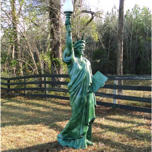 Metal Statue of Liberty 7′ TALL Scupture LIGHTED Electrified Flame Glass Shade