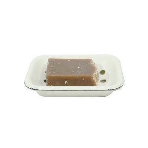 Porcelain Enamel over Steel Antique Style Soap Dish With Cream Distressed Finish