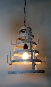 French Factory Wine Bottle Dryer Pendant Ceiling Light Chandelier Old Style