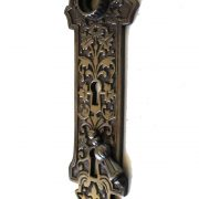 "The ""Boston"" brass door plate with key hole swivel and open key hole DARKENED"