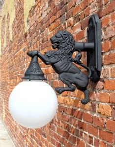 Wall Mounted Lion Sconce Indoor or Outdoor Detroit No Rust Roar