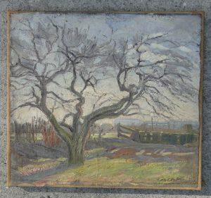 Antique Impressionist Oil Painting by Francois Cachoud, French Estate, Fresh Study with Moreau