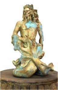 Poseidon Gold Leaf & Tiffany Green Merman Sculpture with Beard, Waves & Flowing Hair