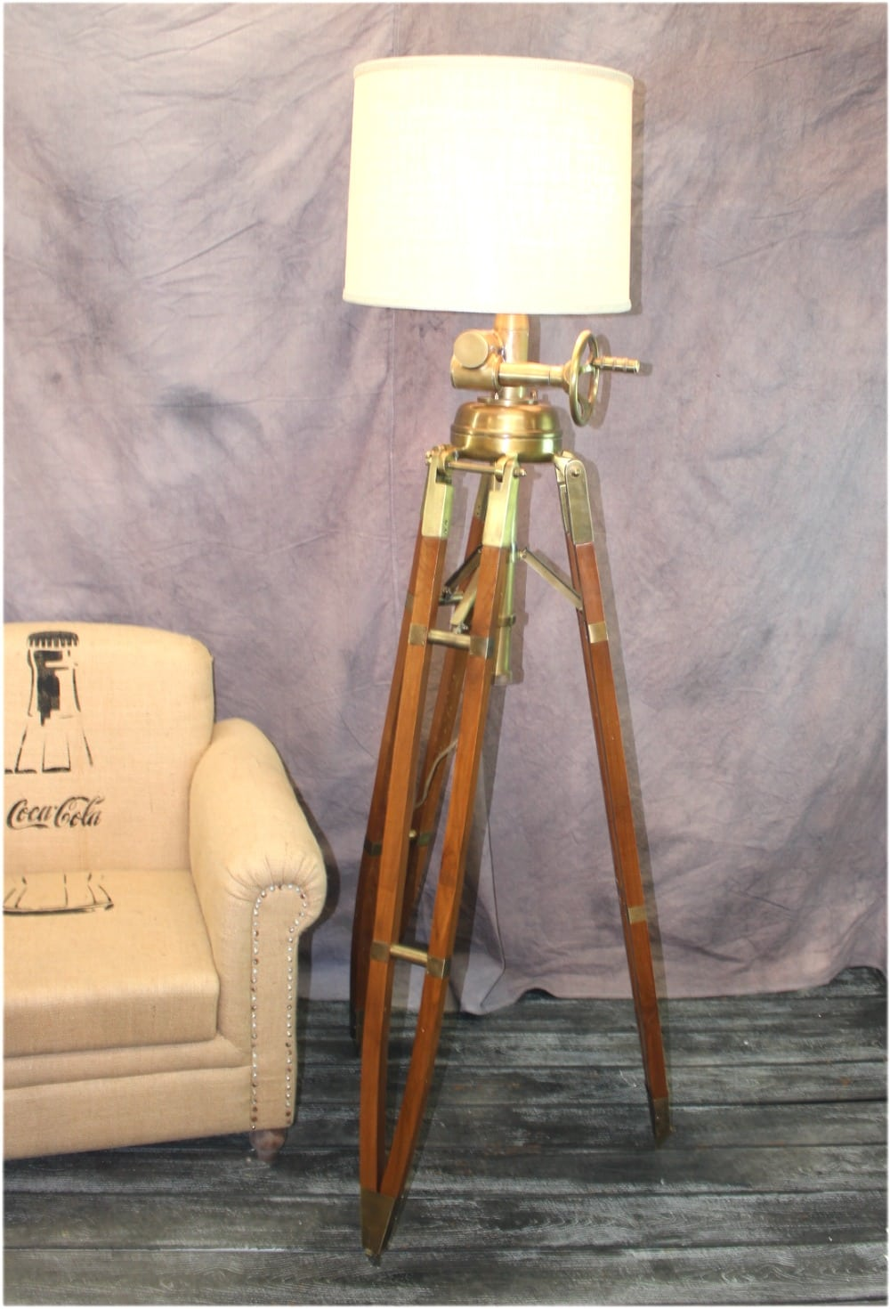 Huge Commercial Quality Antique Brass Wood Tripod Floor Lamp W