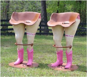 Bar Stools with Polka Dot Girls With Pink Bikini Western Boots and Foot Rail PR