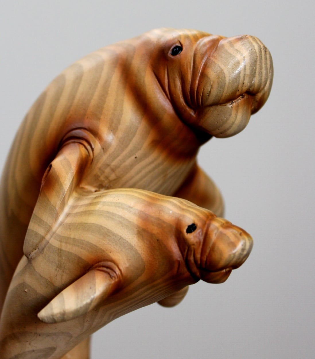 Manatee And Baby Faux Wood Statue Or Sculpture Cute Nautical Desk Decor