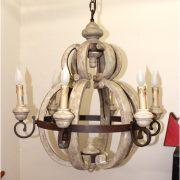 Aged French Country Cottage Style Large Round Wood Chandelier Light Fixture