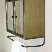 Bath or Bar Shelf and Cabinet w Two Mirror Doors Raw Steel Hand Crafted