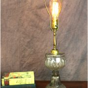Antique Pressed Glass Kerosene Lamp Converted to Light Fixture End or Side Table