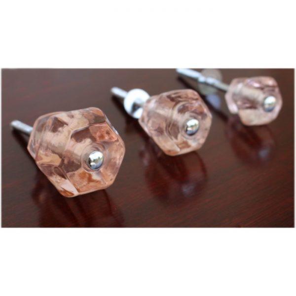 1.25″ PINK Glass Cabinet Knobs Pulls Vintage Dresser Drawer Hardware 25 pcs