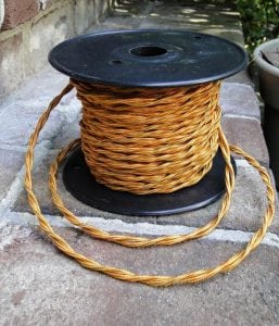 Spool 100′ Twisted Gold Rayon Cloth Covered Electrical Wiring Cord Lighting