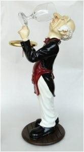 2′ Tall Snobby Butler Statue Wine Waiter With Glass in Tuxedo Restaurant Decor