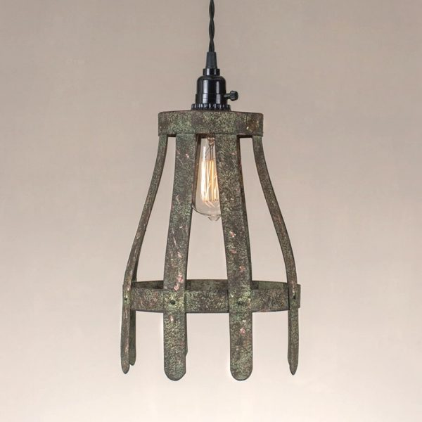 Picket Fence Sticks Pendant Light Fixture in Tin with Aged Vintage Finish