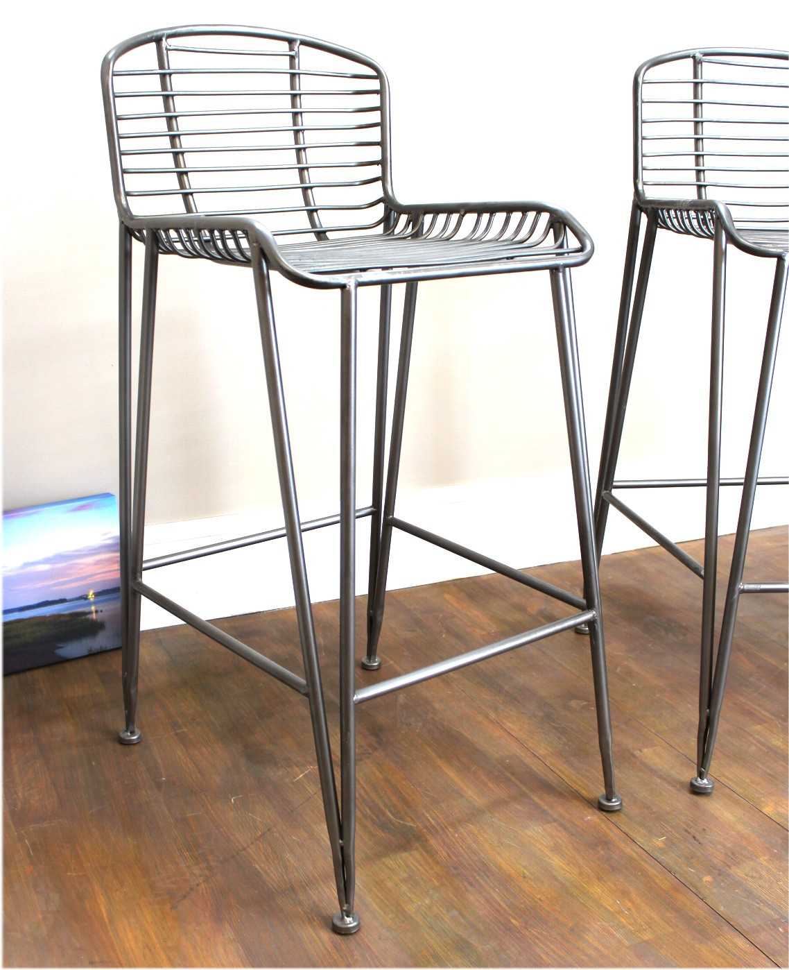 Bar Stool With Metal Construction Danish Modern Era Old Style Pair The Kings Bay