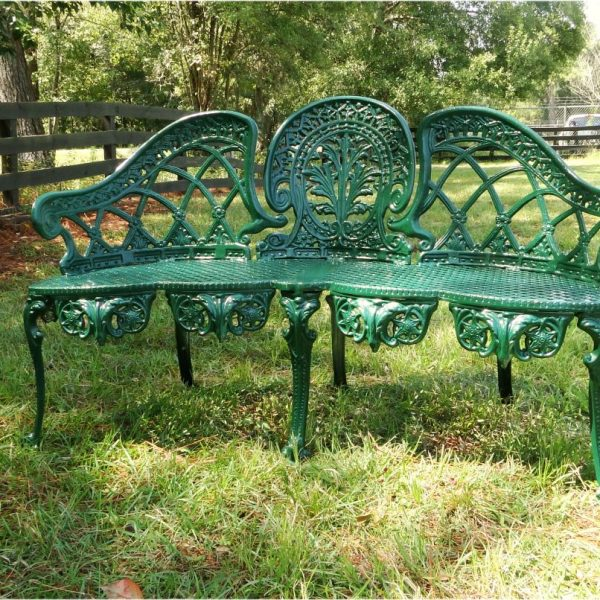 English Garden Bench Furniture Victorian Old Style Cane Seat Metal Green Paint