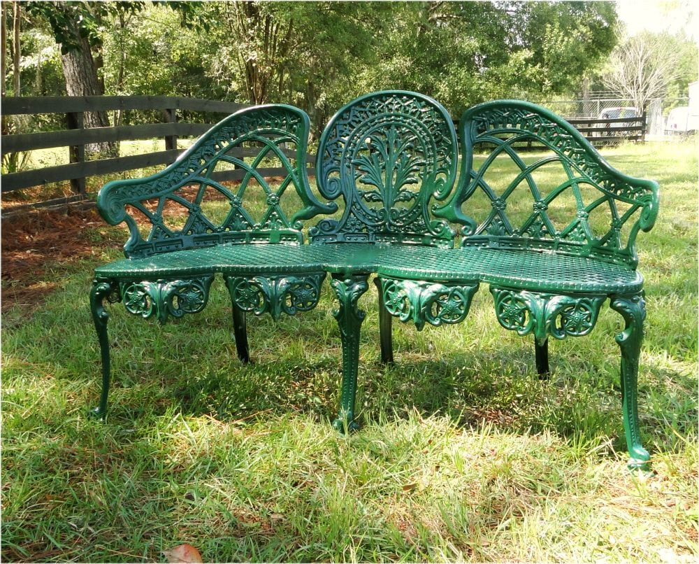English garden bench furniture victorian old style cane seat metal green paint the kings bay