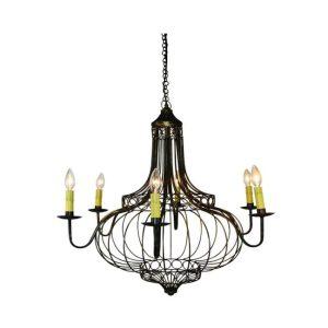 Faux Bronze Onion Dome Design Eight Light Chandelier Fixture