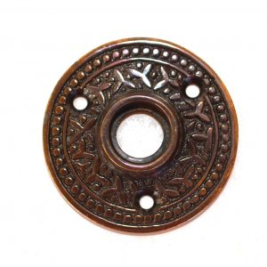 """Brass Victorian Rosette Round Rice Door Plate """"The York"""" Old Style Aged Bronze"""