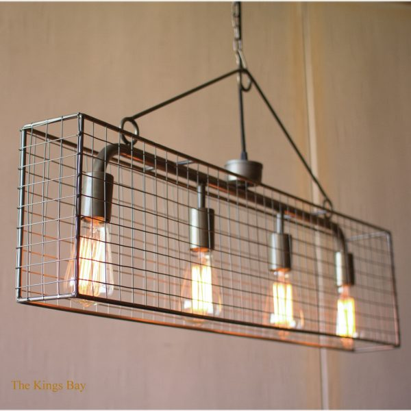 Horizontal Mesh Iron Chandelier with Four Bulbs Classic 36″ Fixture