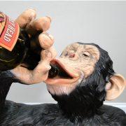 Drinking Monkey Statue For Wine Bottles Beer Ape Sculpture Fun Biscaretti