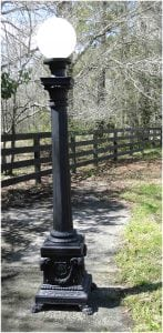 Outdoor Commercial or Home POLE LIGHT Victorian Replica Presidential Rams Head