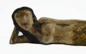 Wooden Hand Carved Mermaid Lying on Side Vintage Folk Art Painted Nautical