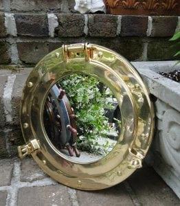 Solid Cast Brass Nautical Port Hole Mirror 11″ Dia Ships Sea Sailing Porthole