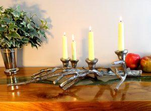 Tree Limb Branch Aluminum Centerpiece Candelabra Candle Holder Sculpture Rustic