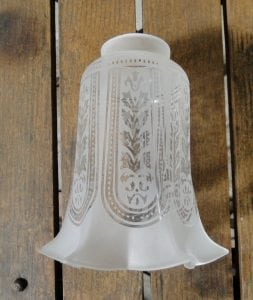 Victorian Etched with Flares Glass Replacement Shade 2 1/4″ Fitter Light Parts