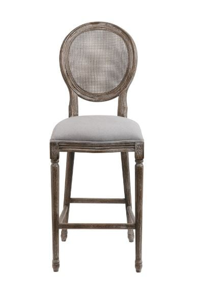 Mesh Back Bar Stools (PR) Gray Oatmeal Linen Seat and Cane Seat