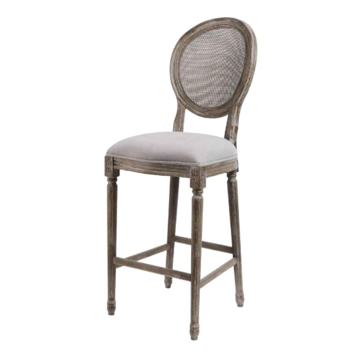 Cane Back Bar Stools Pr Gray Oatmeal Linen Seat And Aged Wood