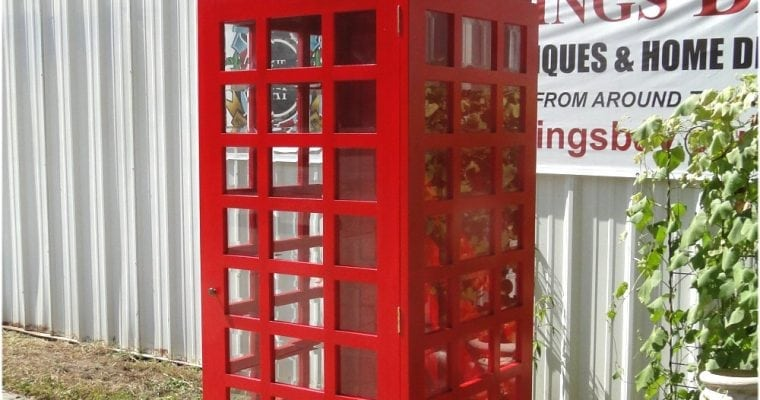 Red Wood Old Style Replica England Telephone Phone Booth England London British