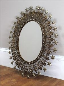 Oval Sparkling Rhinestone and Shooting Stars Mirror Pressed Tin and Gold