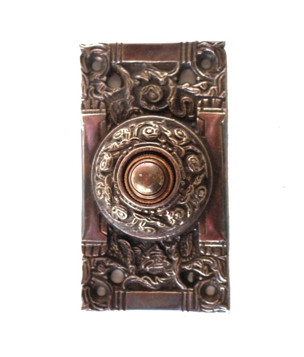 Victorian Electric Bronze Door Bell Push Button Antique Replica Oil Rubbed  - The Kings Bay - Victorian Electric Bronze Door Bell Push Button Antique Replica Oil