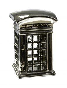 Silver English or British Ceramic Phone Booth Decor