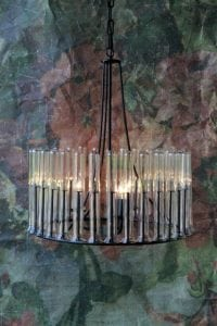 Flower Tube Glass Chandelier w Wrought Iron Frame Ceiling Mounted Light Fixture