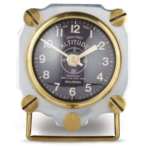 Aviator 1930's Altimeter Table Clock Army Air Corp Replica Polished