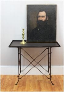 Old Bronze Fnsh Rectangular Table w British East India Trading Company Antique Style Legs