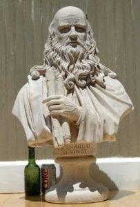 Marble Stone Leonardo DaVinci Bust Statue Old Styl Inventor Famous Sculpture Art