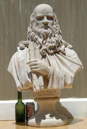 Marble Stone Leonardo Davinci Bust Statue Old Styl