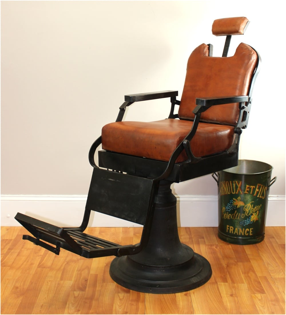 Merveilleux Barber Chair With Leather Seat Cushions Cast Iron Base Hand Made Antique  Replica