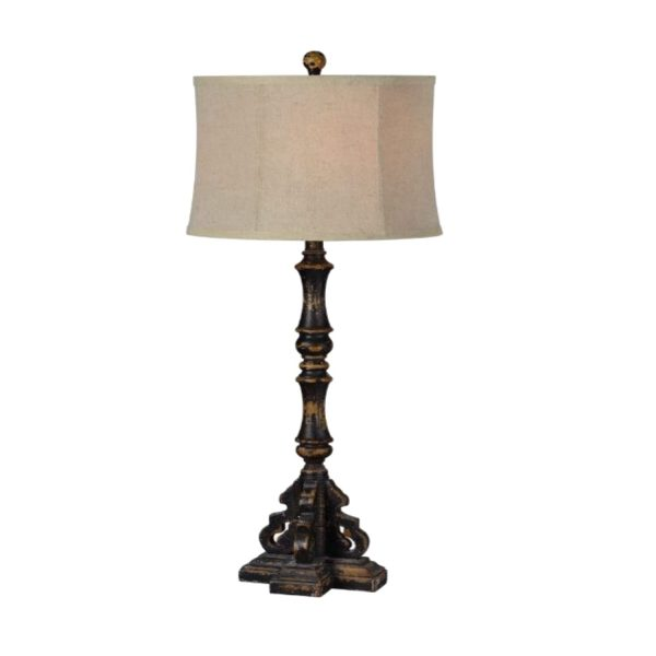 """French Country """"La Femme """" Hand Painted Buffet Table Lamp Industrial Crackled"""