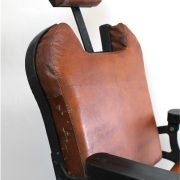 Barber Chair with Leather Seat Cushions Cast Iron Base Hand Made Antique Replica