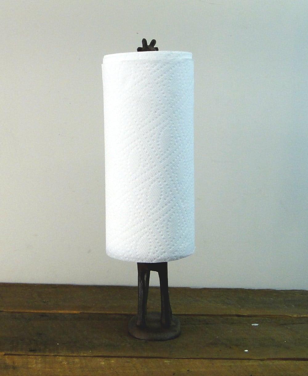 Giraffe Toilet Paper Towel Holder Rust Cast Iron - The Kings Bay